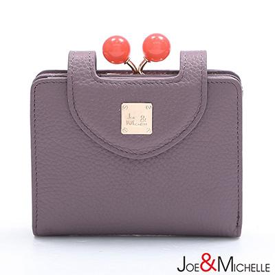 J-M-真皮愛蜜莉框釦短夾-藕芋紫