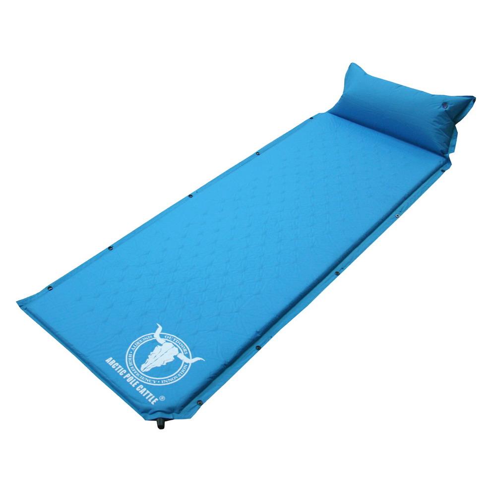 APC-全平面可拼接自動充氣睡墊-帶頭枕(藍色)