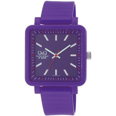 Q&Q 日系個性方正混搭泡泡糖潮流錶-紫/38mm