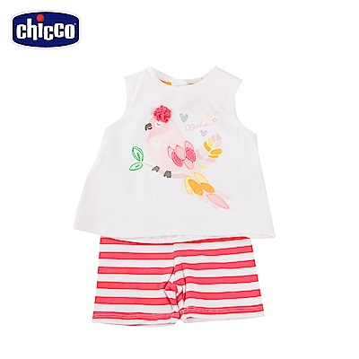 chicco熱帶風情女童背心套裝-米
