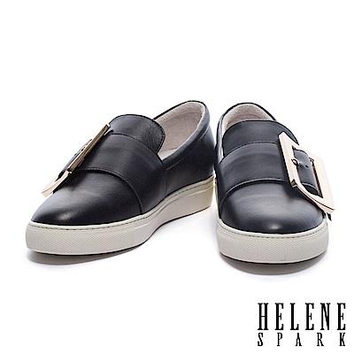 休閒鞋 HELENE SPARK 簡約大型金屬方釦全真皮厚底休閒鞋-黑