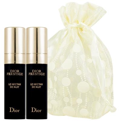Dior 迪奧 精萃再生花蜜夜間活膚精華(5ml)2入旅行袋組