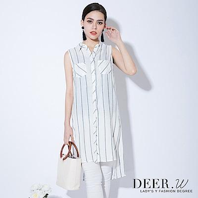 DEER.W 排釦開衩長版無袖背心上衣(白色)