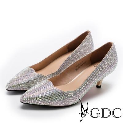 GDC-高雅波浪形鑲嵌水鑽中跟尖頭鞋-金色
