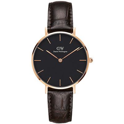 DW Daniel Wellington 經典約克黑棕色壓紋皮帶腕錶-金框/32mm