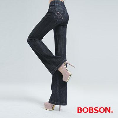 BOBSON 高腰頭鑽飾伸縮喇叭褲(鐵灰)