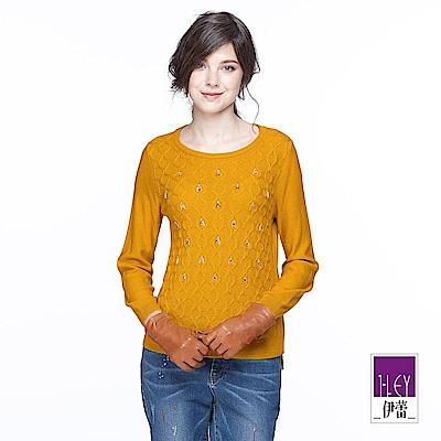 ILEY伊蕾 優雅織紋裝飾針織上衣(黃)