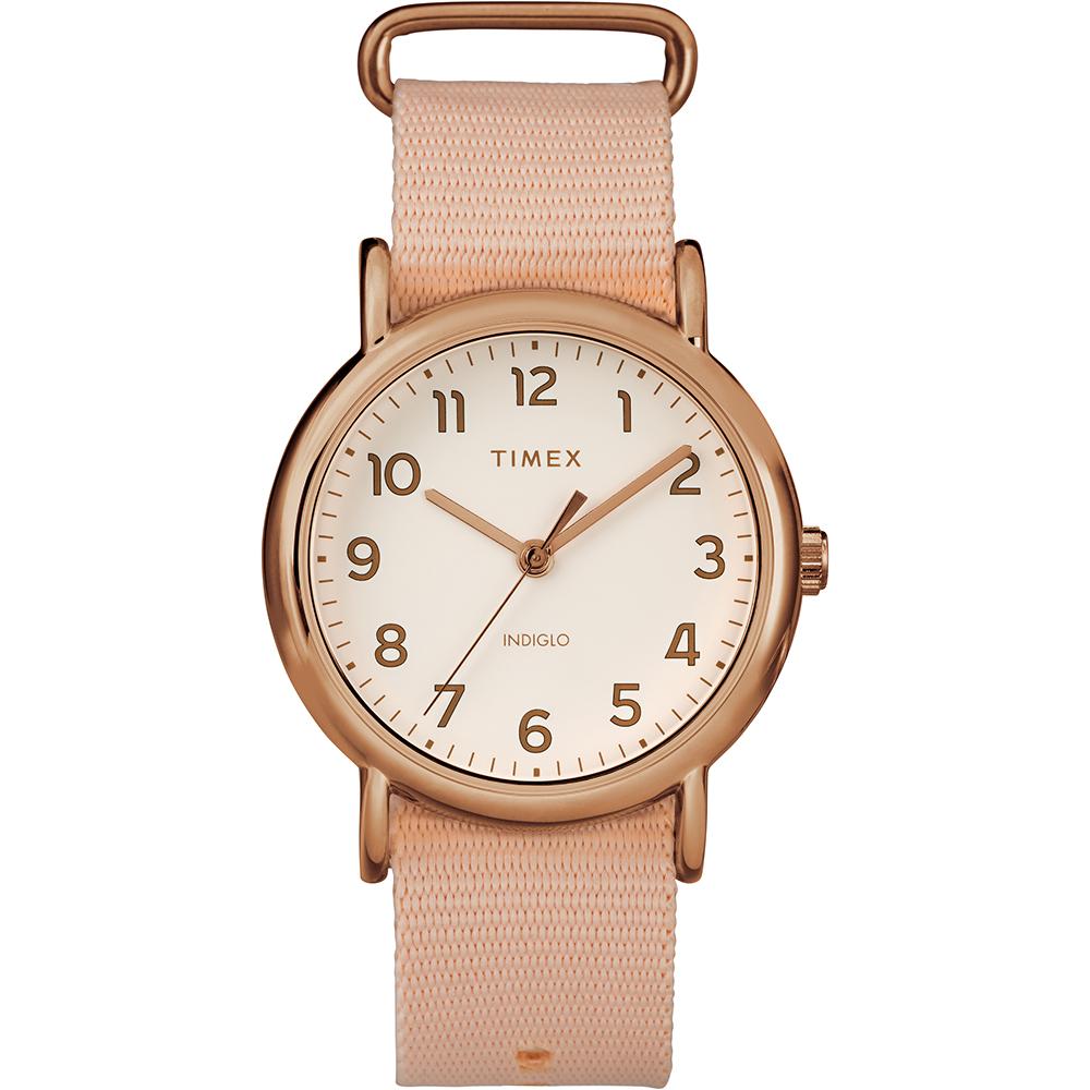 TIMEX  天美時 Weekender 週末系列復古手錶 米白x粉紅/38mm