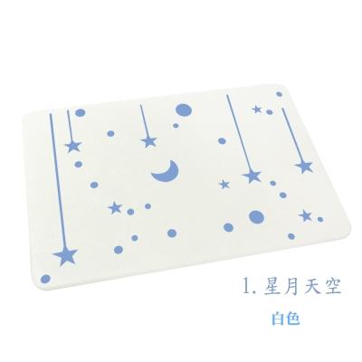 炫彩繪製款珪藻土吸水地墊-星月天空38.5x29