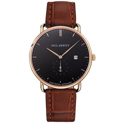 PAUL HEWITT AtlanticLine船錨風尚真皮手錶-黑X金框/42mm