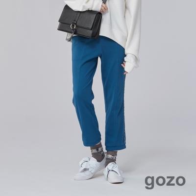 gozo 復古運動黑白滾邊休閒布標長褲(共2色)-動態show