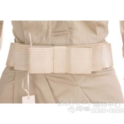 SCHUMACHER 米白色蝴蝶結寬版腰帶