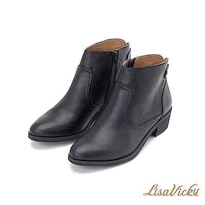 LisaVicky東岸牛仔個性金屬扣低跟短踝靴-黑色
