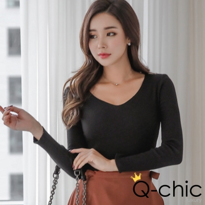 正韓 深色系V領針織長袖T恤 (共五色)-Q-chic