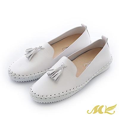 MK-台灣手作-流蘇馬克休閒平底懶人鞋-白色