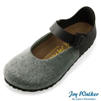 Joy Walker 休閒魔鬼沾釦帶包鞋*灰黑