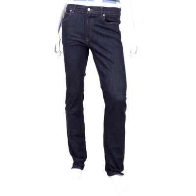 TRUSSARDI 深藍色烙印T LOGO飾釦牛仔褲