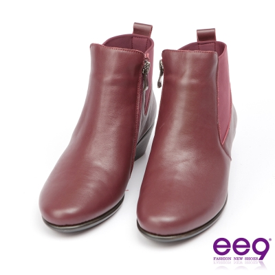 ee9經典手工~質感簡約百搭素面粗跟踝靴*酒紅