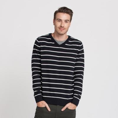 Hang Ten - 男裝 - 假兩件條紋針織毛衣 - 藍