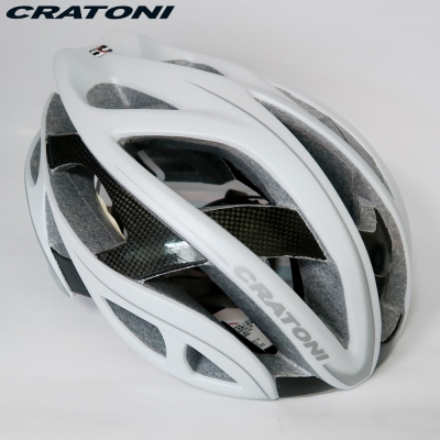 CRATONI 德國專業品牌 TERRON 公路車用安全帽/碳纖維支架-白銀