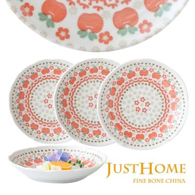 Just Home 日本製紅蘋果陶瓷湯盤4件組(實用8吋尺寸)
