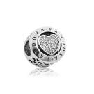 Pandora 潘朵拉 經典字母LOGO愛心鑲鋯 純銀墜飾 串珠