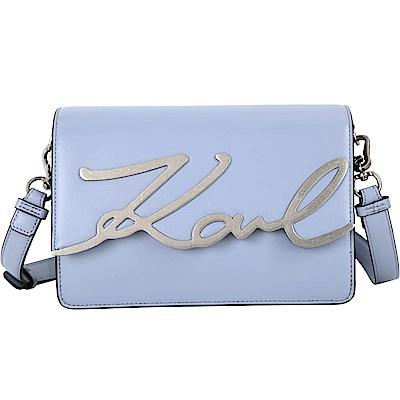 KARL LAGERFELD K/SIGNATURE 金屬簽名字樣牛皮斜背包(迷霧藍)