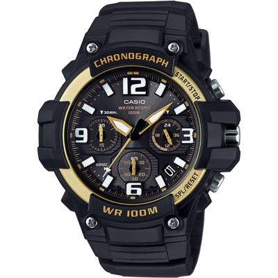 CASIO卡西歐 運動計時腕錶-黑x金框/48mm