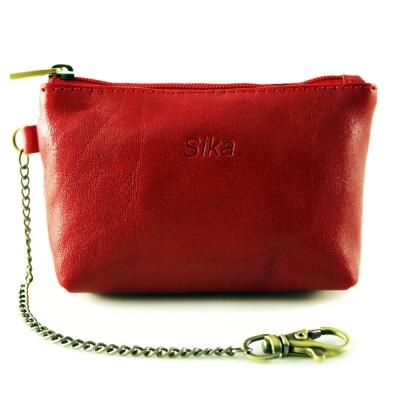 Sika - 義大利時尚真皮拉鍊零錢包A8228-04 - 魅惑紅