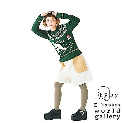 E hyphen 三戶夏芽著用款-雪花編織圓領花紋針織衫