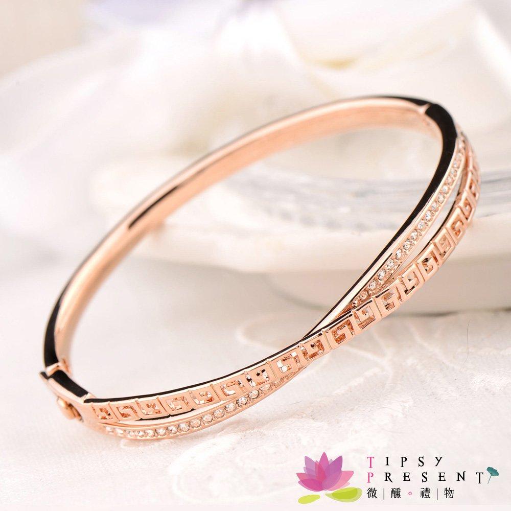 微醺 禮物 手環 高級水鑽 合金鍍K金 G形一排鑽交錯 手環