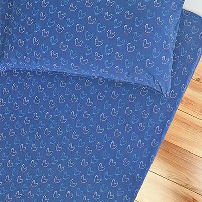 Yvonne Collection公雞印花雙人純棉床包-深藍