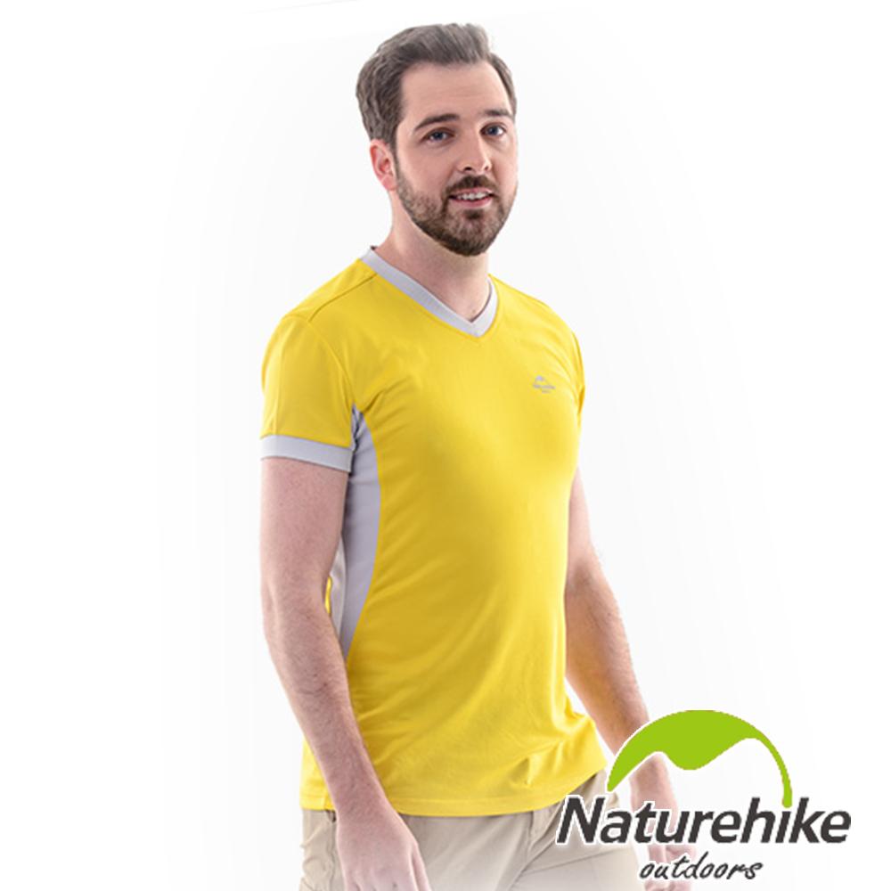 Naturehike 速乾排汗V領短袖機能服 男款 檸檬黃