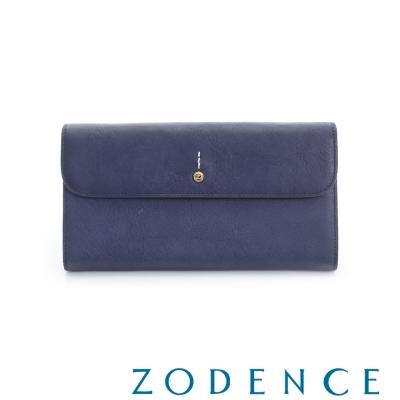 ZODENCE 義大利質鞣革系列迷你LOGO設計多卡層長夾 藍