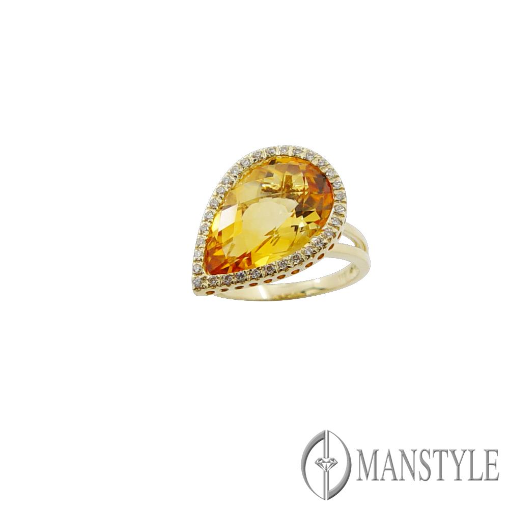 MANSTYLE「柔情似水」黃水晶鑽戒