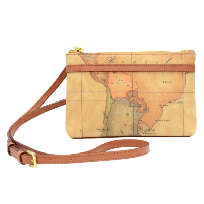 Alviero Martini 義大利地圖包 拉鍊隨身小側背包(小)-地圖黃