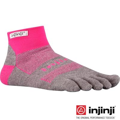 【Injinji】RUN 吸排五趾短襪-粉紅