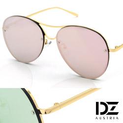 DZ 美型平版框 抗UV太陽眼鏡 墨鏡(金框金粉膜)