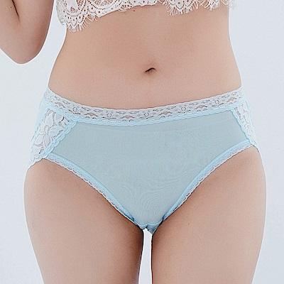 內褲 優雅蕾絲花邊100%蠶絲中高腰三角內褲 (藍) Chlansilk 闕蘭絹
