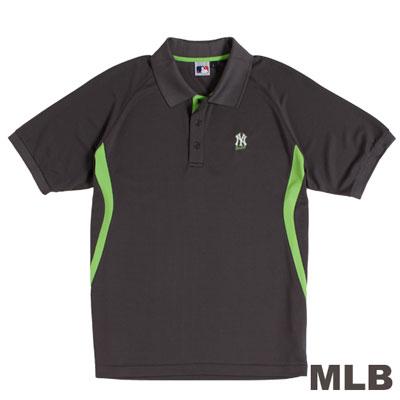 MLB-紐約洋基隊開釦式排汗POLO衫-深灰(男)