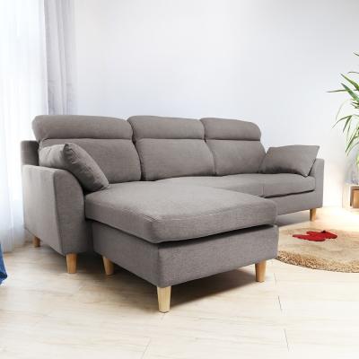 H&D  Martin 馬汀舒適高背L型布沙發-灰色