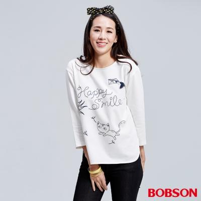 BOBSON  女款刺繡縫珠寬版上衣