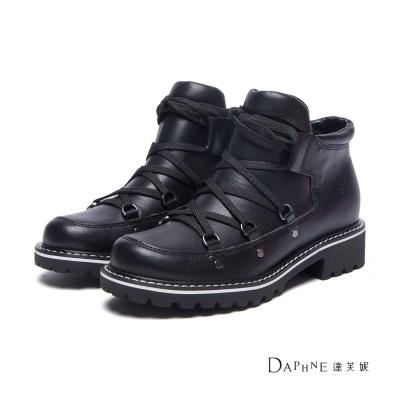 達芙妮DAPHNE-短靴-黑白配色綁帶短筒軍靴-黑