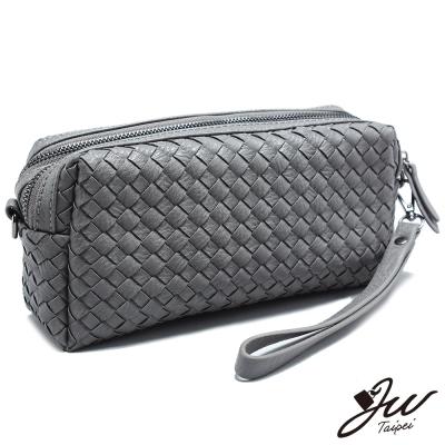 JW-繽紛手工編織雙層拉鍊手拿斜背兩用包-共六色