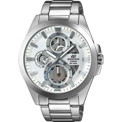 CASIO EDIFICE 機械鋼鐵城三眼賽車腕錶-銀X白-44mm