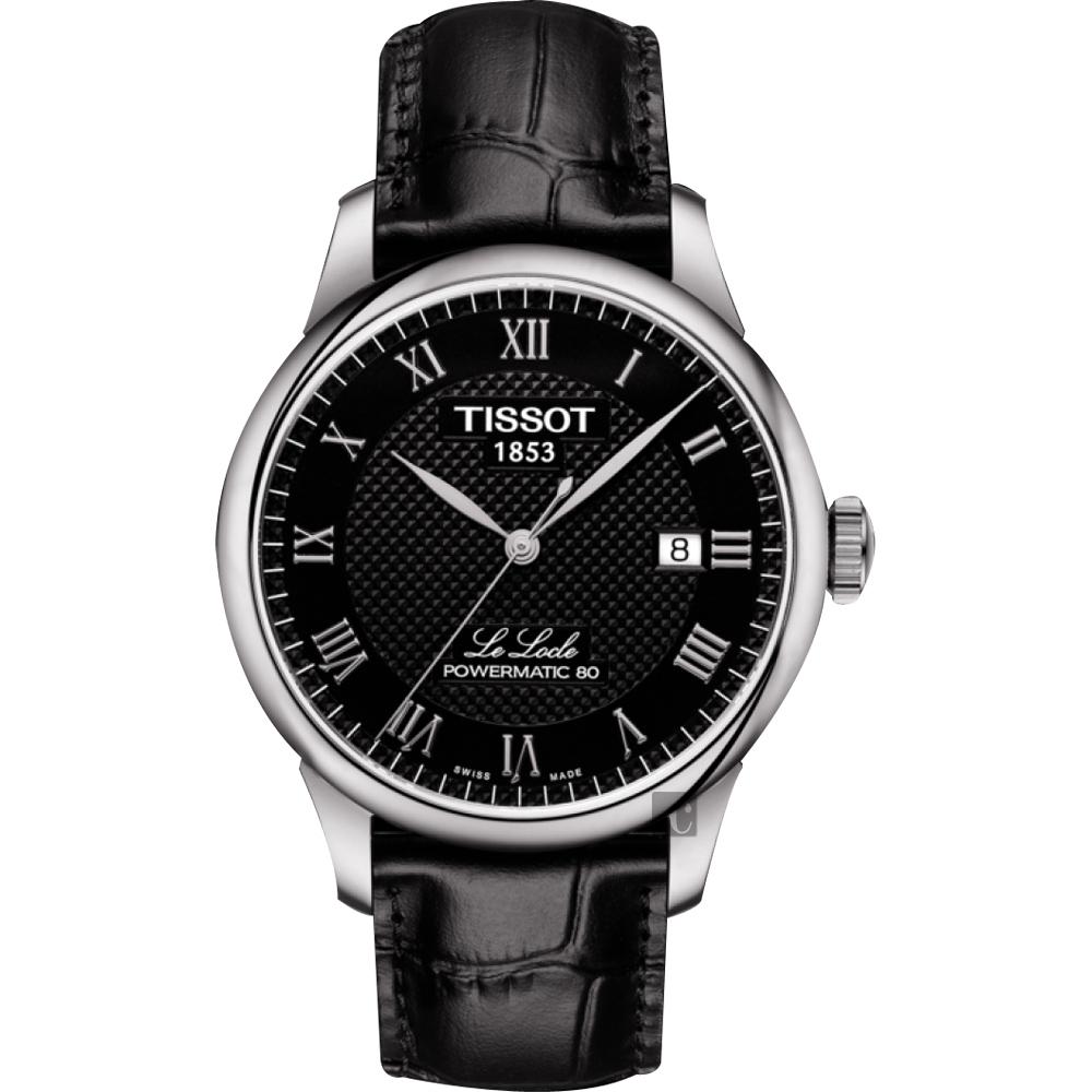 TISSOT天梭 Le Locle 80小時機械錶-黑/39mm