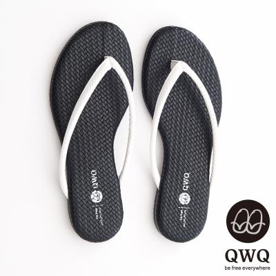 QWQ夾拖的創意(女) - KNIT 皮感編織 中間色人字夾拖 - 爵士黑