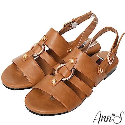 Ann'S復古派-金色圓環寬版平底涼鞋-棕
