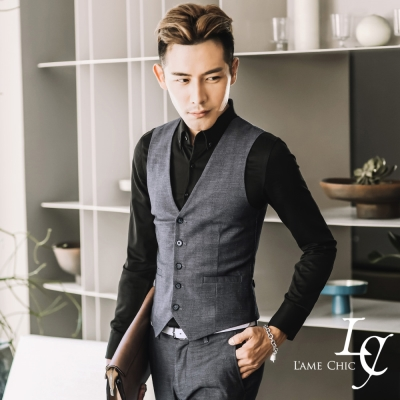 L-AME-CHIC-英式直壓紋袖口橫條設計彈性修身西裝背心