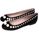 BOUTIQUE MOSCHINO 珍珠飾麂皮平底娃娃鞋(黑色)